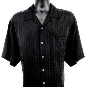 TOMMY BAHAMA Mens Black S/SHawaiian Shirt Sz L